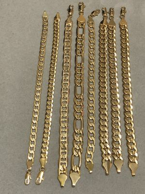 Various styles GOLD PLATED Bracelets all lengths and widths for Sale in Orlando, FL