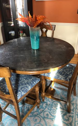 Blue stone round dining table and 4 chairs for Sale in Falls Church, VA