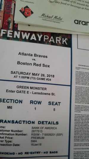 Green monster ticket for Sale in Boston, MA