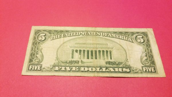 1953 $5 Silver Certificate Blue Seal Currency Five Dollars for Sale ...