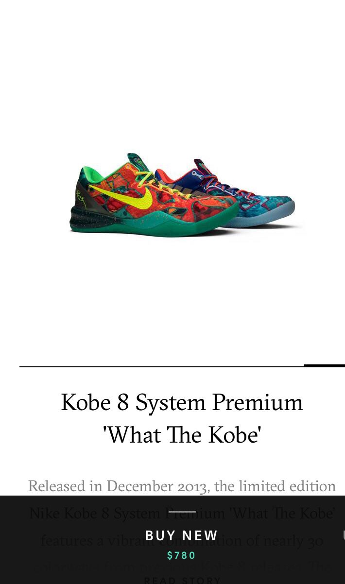 Kobe 8 Size 10.5 $780 on goat