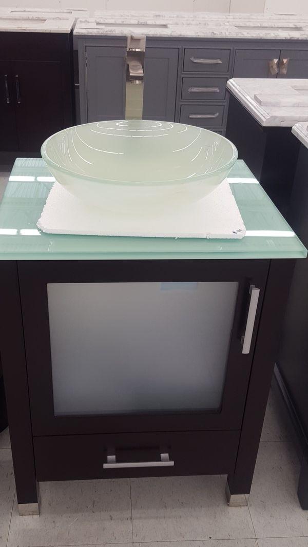 "24"" Bathroom Vanity with Glass Top & Vessel Sink for Sale ..."