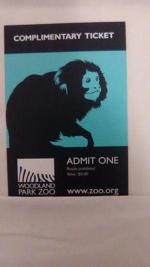 Woodland park zoo tickets for Sale in Auburn, WA