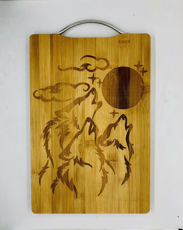 Howling Wolves Laser Engraved Bamboo High Quality Cutting Board