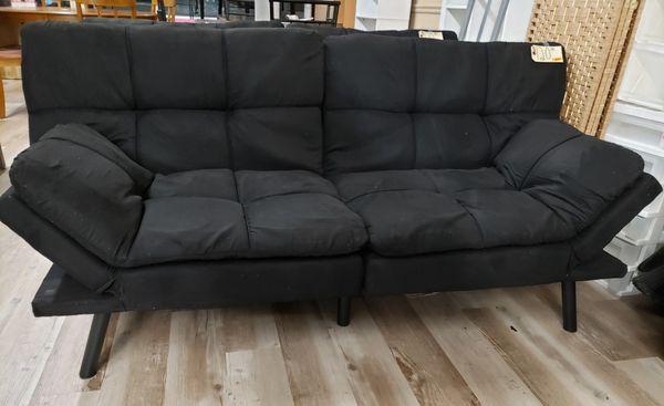 NEW Black Microsuede Futon Sleeper Sofa for Sale in Burlington, NJ - OfferUp