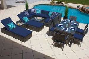 New 17 piece Outdoor Patio Furniture Sofa Set In Gray Wicker with Cushions Aluminum Frame for Sale in Miami, FL