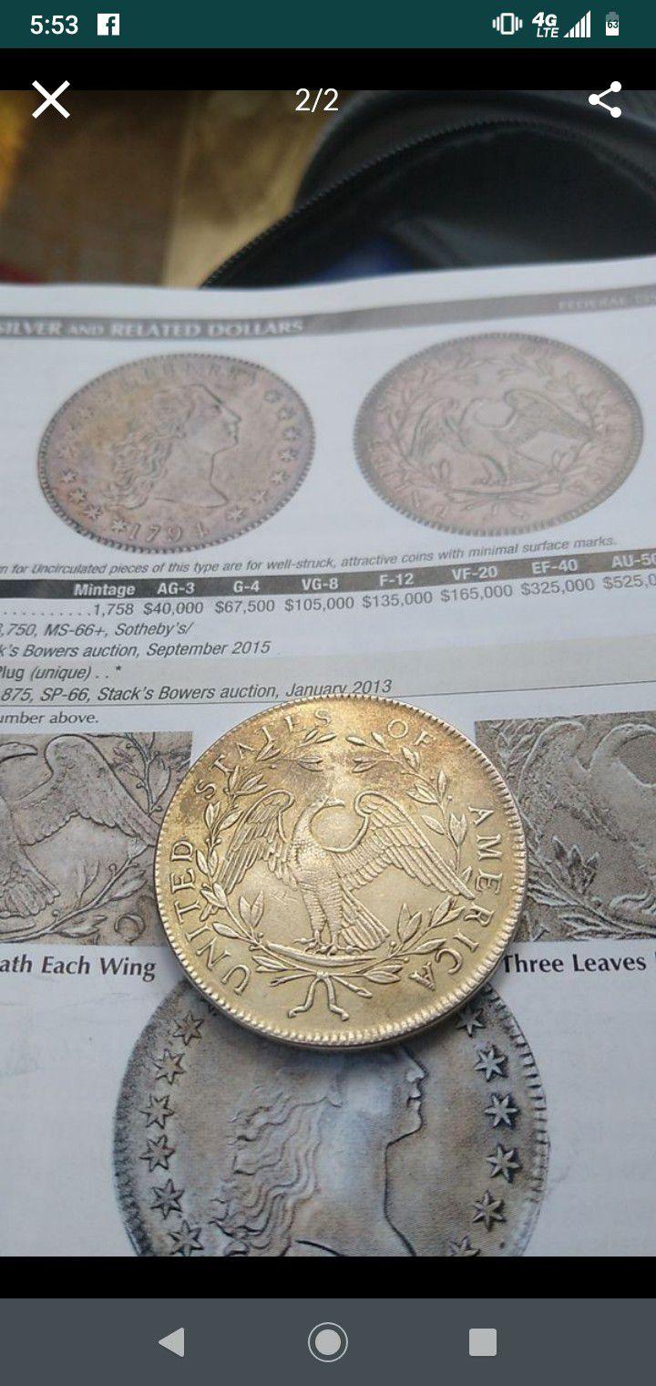 1794 silver plug coin 226 years ago rare collectible coin
