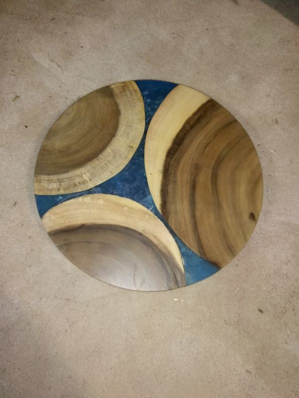 Pier One Lazy Susan Acai Wood And Blue Epoxy For Sale In