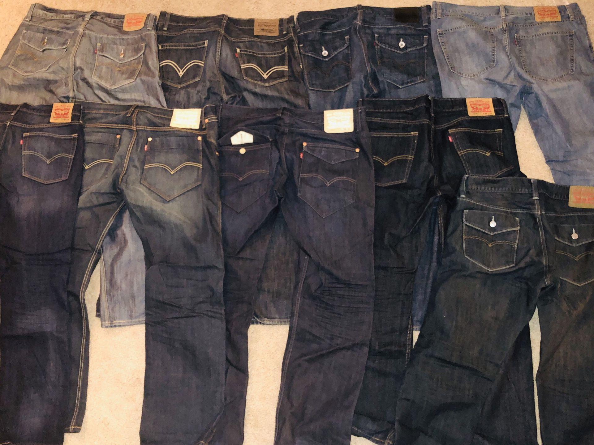 Mens Levis Jeans 36x32 bundle Rare!! 9 pairs of 514's