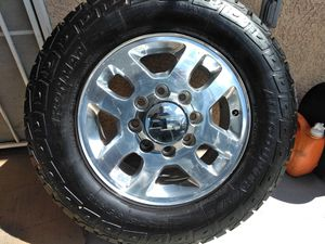 Photo Set of four rims wheels n LT275 65 18 tires 3 ironman 1 Cooper same size removed of 2017 Chevy truck 8 lugs