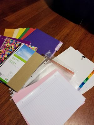 Back to school assorted supplies notebooks folders highlighters etc for Sale in Centreville, VA
