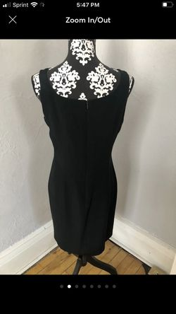 100% SILK Hugo Buscati little black dress loaded with Taylor designs including darts down the back and the front to enhance fitting, A hidden zipper Thumbnail