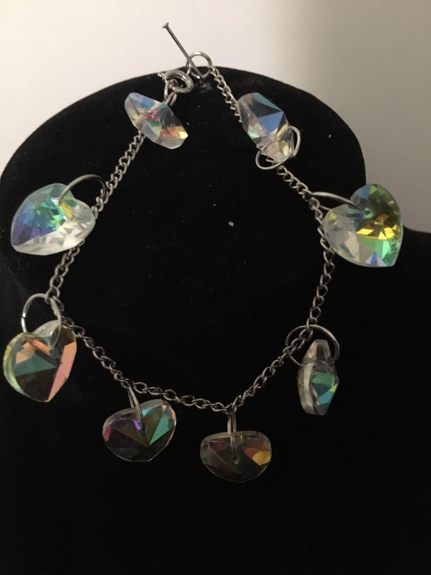 Handmade crystal heart shaped bracelet