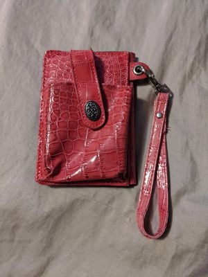 Photo The Metropolitan Milano Pink / Red Croc Embossed Wristlet Wallet Cell Phone Case
