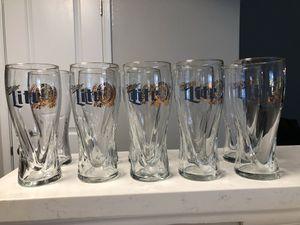 Gold Trimmed Miller Light Glasses for Sale in Pasadena, MD
