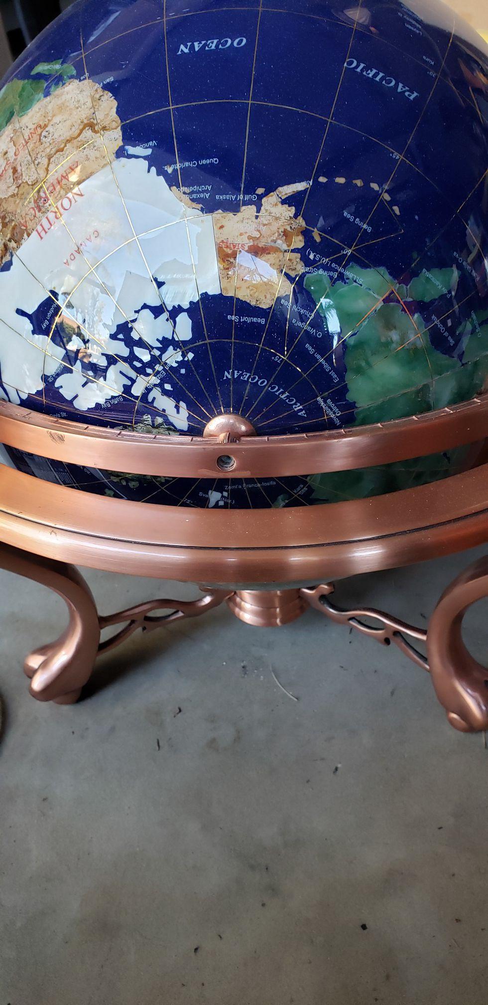 Large gemstone globe with compass
