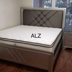 BedRoom Set (4-PIECE QUEEN bed,Dresser,mirror,Nightstand 🌸🌸(39 $down payment ) same day delivery🚚🚚 Thumbnail