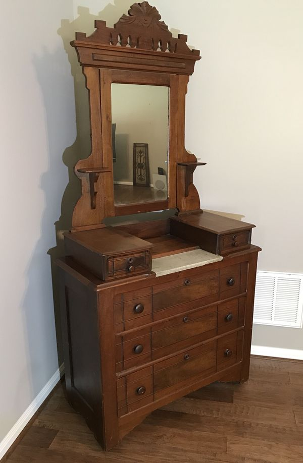 Vintage Antique Dresser W Mirror Marble Top 1882 For Sale In New