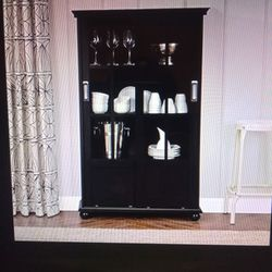Ameriwood Home Aaron Lane Bookcase With Sliding Glass Doors, Black Thumbnail