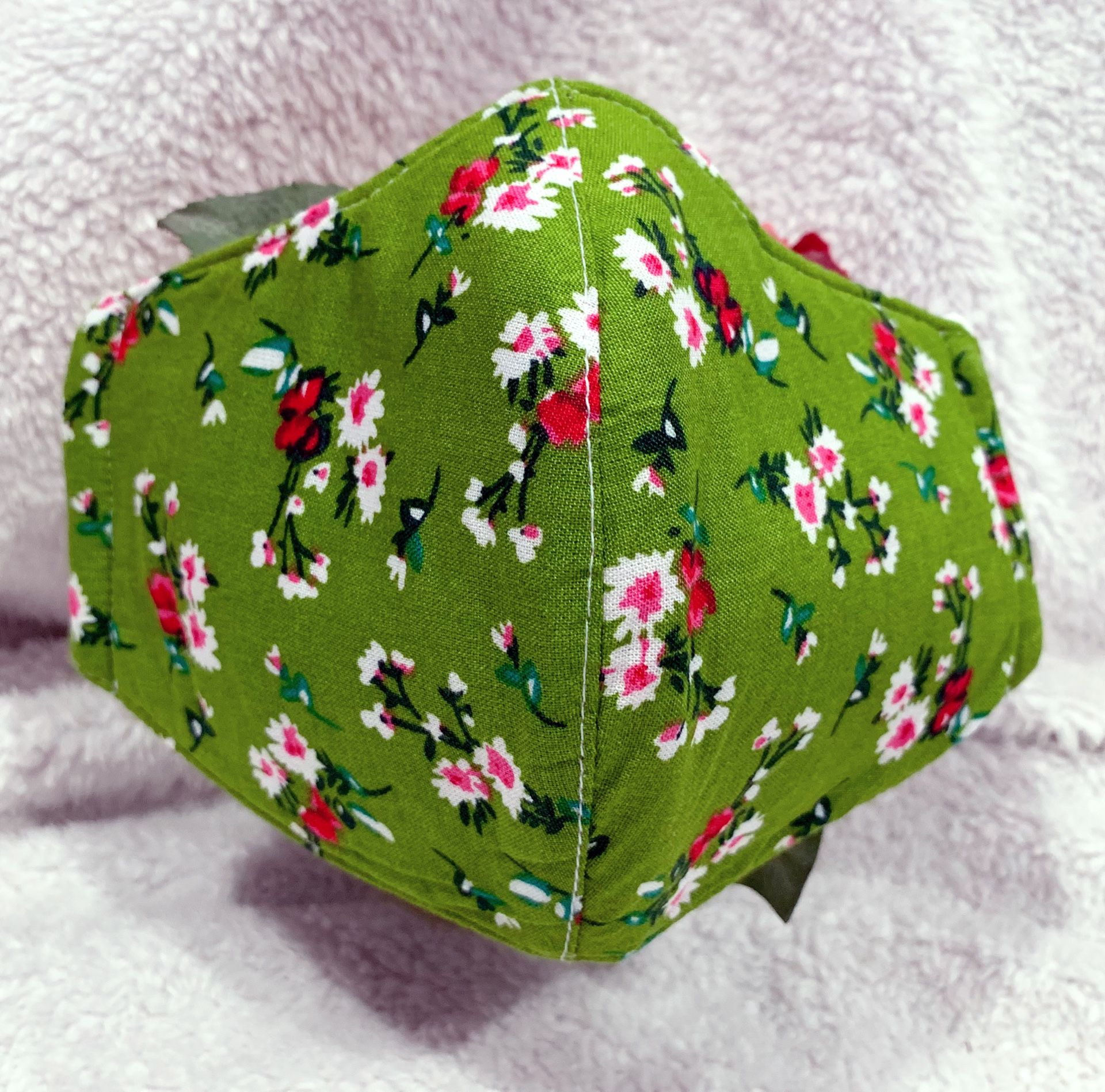 Women/Junior Girl green floral handmade face mask