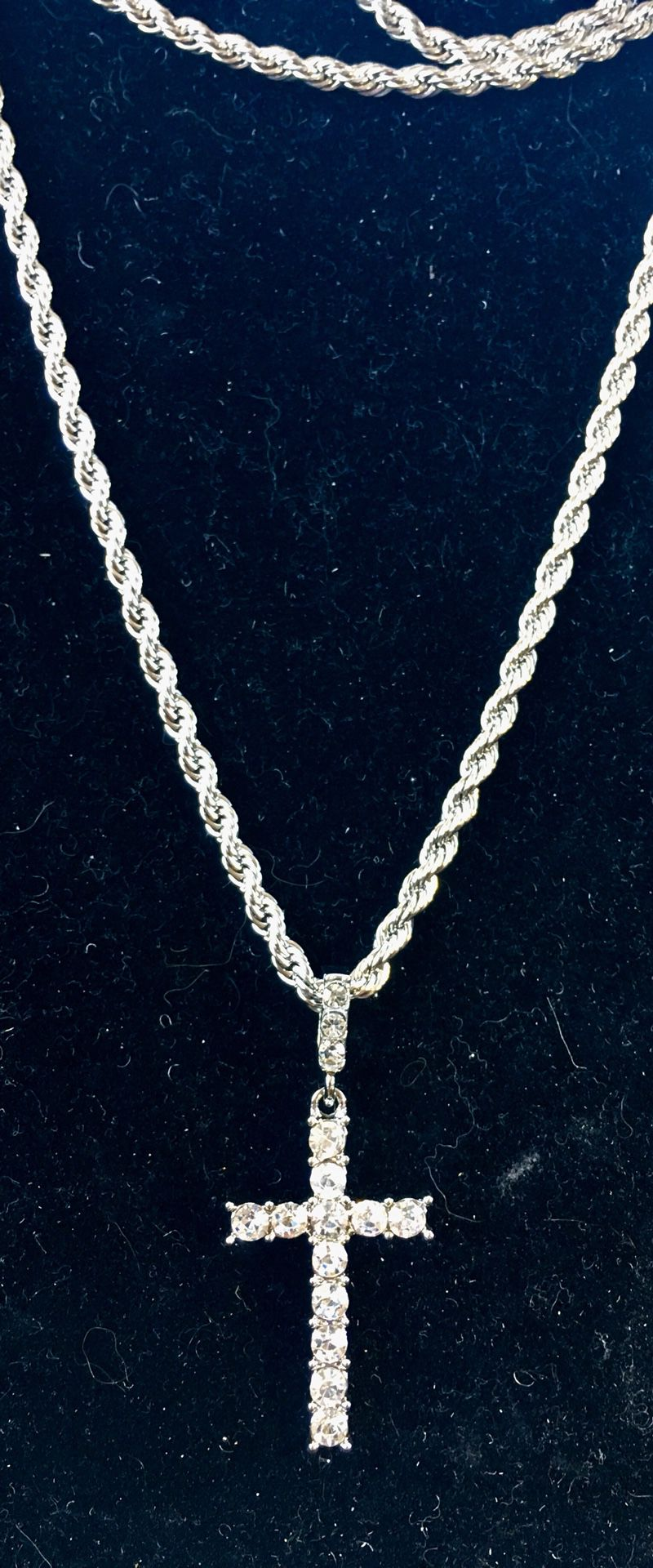 EXCLUSIVE CROSS 18K GOLD FULL DIAMONDS CZ NEW ROPE CHAIN MADE IN ITALY!