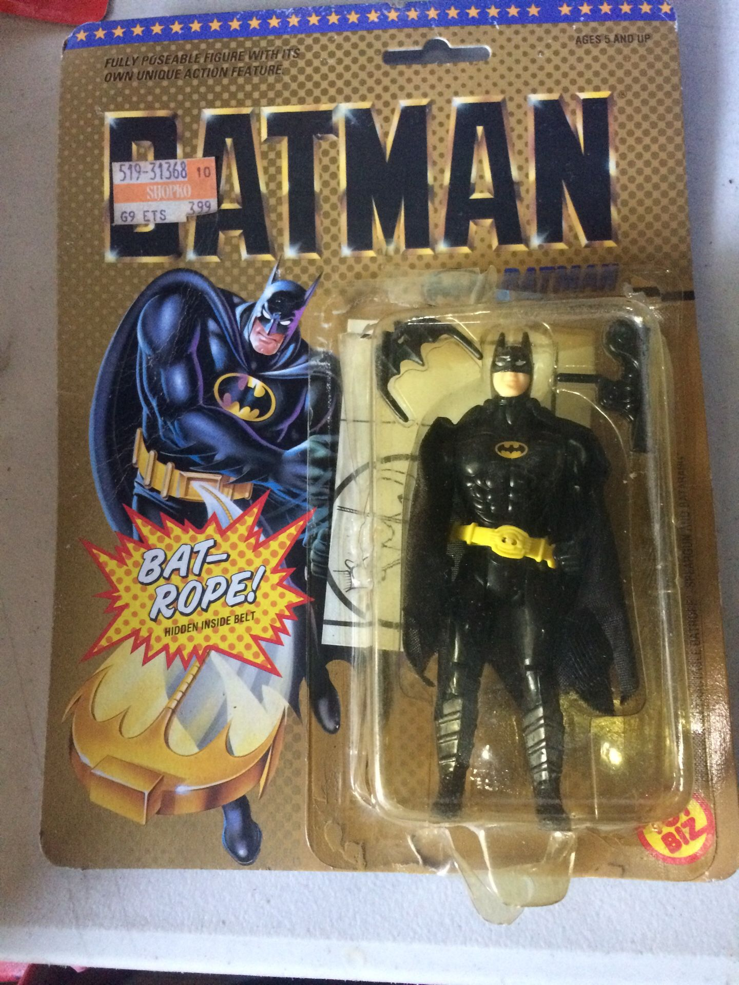 Fullyposeable figure with its own unique action figure feature Batman bat rope hidden inside belt toy biz five and up