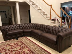 Real genuine Italian leather sectional sofa nailhead trim brown for Sale in NO POTOMAC, MD