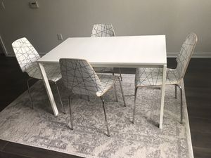 All white Dining Room Set With Geometric Chairs for Sale in Alexandria, VA