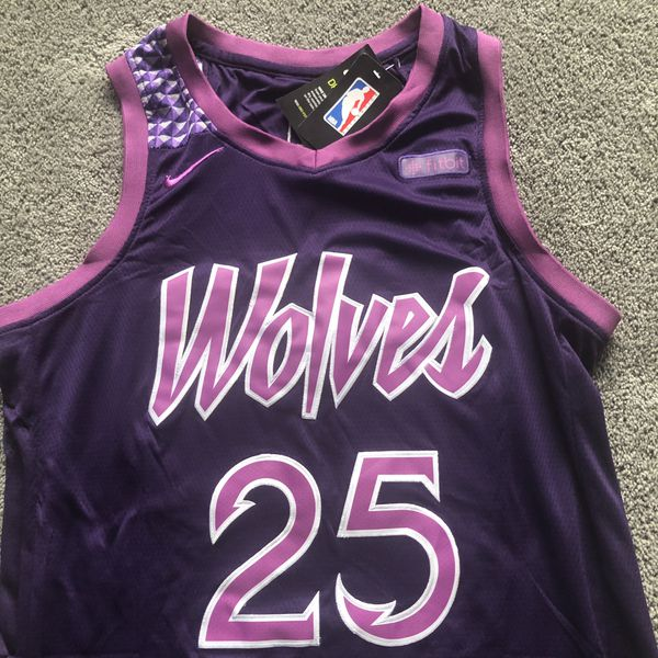 "2fa43033277 Derrick Rose  25 Timberwolves Purple Wolves ""City Edition"" Prince Jersey -  X-Large (XL) Ships For ONLY  45 ☔ 💨"