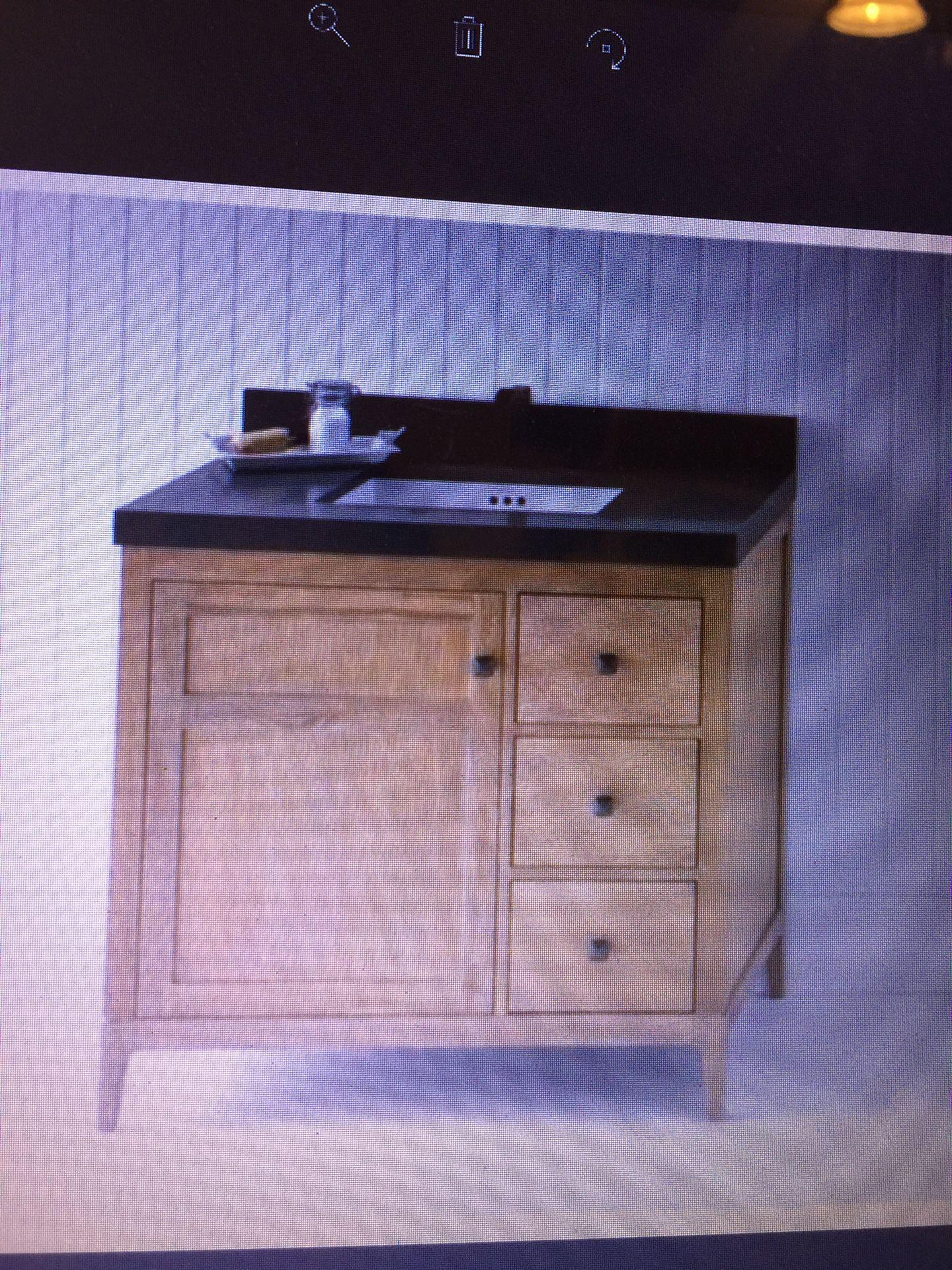 Grate wood vanity furniture new in case