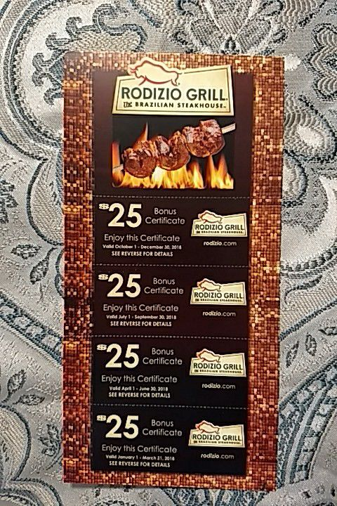 rodizio grill coupon book 100 value for sale in gilbert az offerup