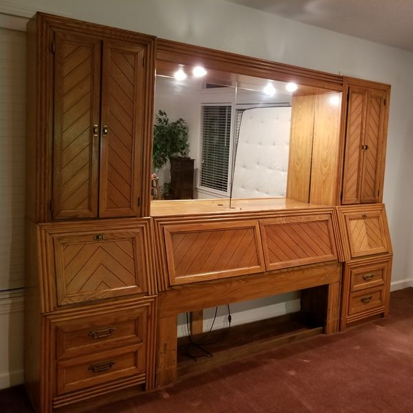 Queen Size Headboard Mirror Wall Unit With Overhead