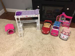 Doll bed and Barbie cars for Sale in Millville, MA