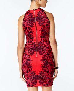 B. Darlin Dress Red Size 9 Junior Sheath Floral Lace Print Bodycon Mini Thumbnail