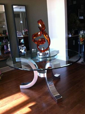 """Excelsior designs Cristallo 60"""" round table and dining room chairs for Sale in San Francisco, CA"""