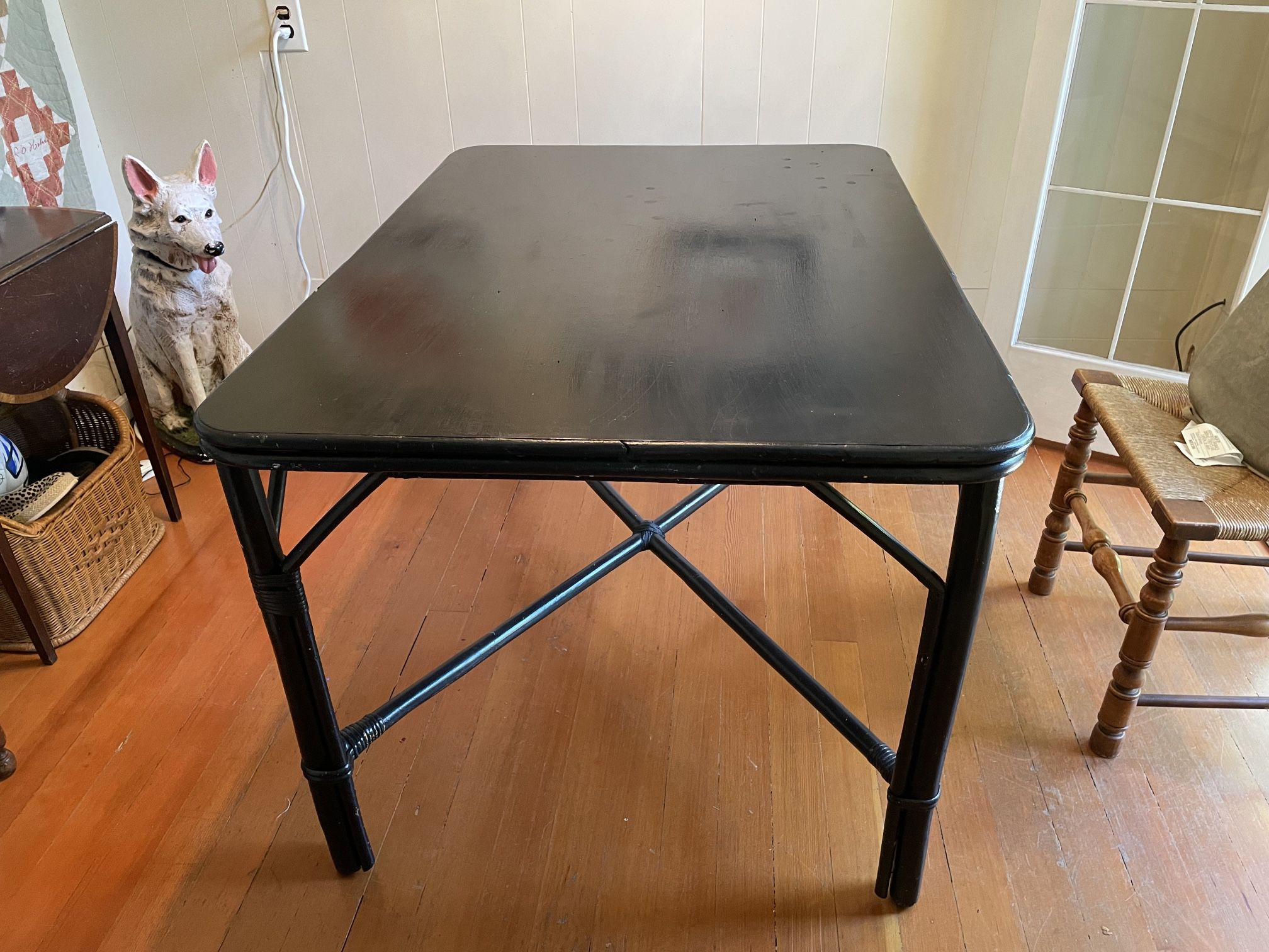 FOR SALE! 50's  black painted bamboo dining/kitchen table, seats 4-6, good condition  35w x 48l x 30h $60