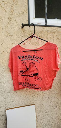 loose fitting orange skating crop top Thumbnail