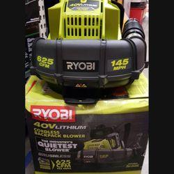 RYOBI 40V CORDLESS BACK PACK BLOWER TOOL ONLY LIKE NEW  Thumbnail