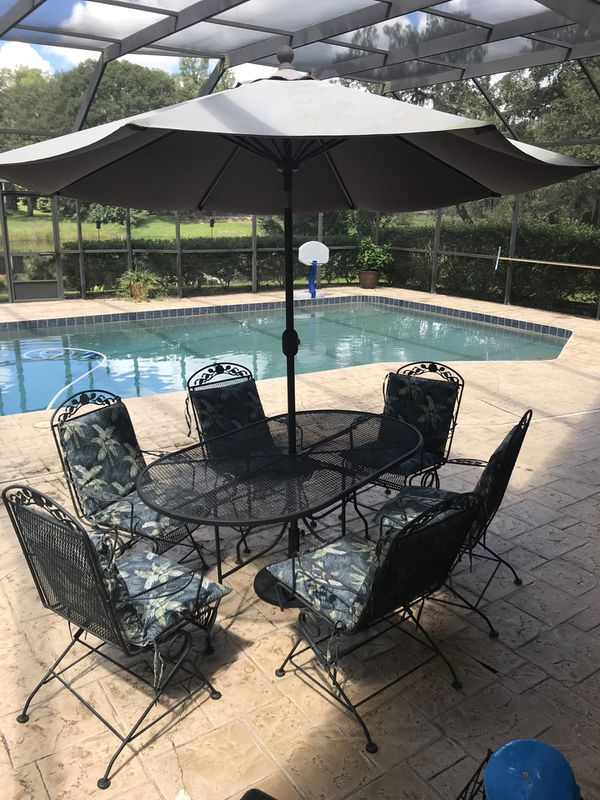 Wrought Iron Table Chairs And Umbrella Longwood Fl