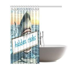 Sea Ocean Shower Curtain, Funny Animal Shark Jaw Polyester Fabric Shower Curtain Bathroom Sets 66x72 Inches Thumbnail