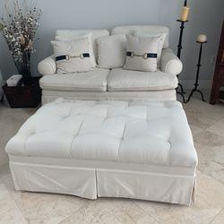White Fabric Love Seat *BONUS TV* Thumbnail