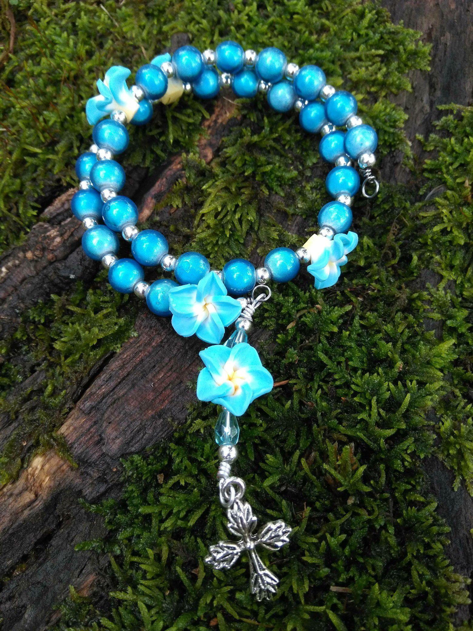 Blue Anglican memory bracelet