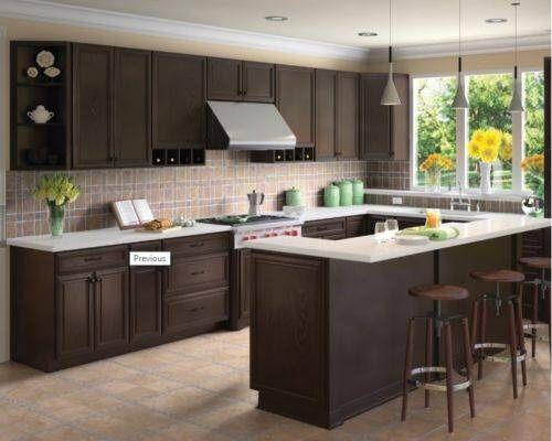Forever Mark Kitchen Cabinets K-Espresso Glaze 10x10 All Wood Sale