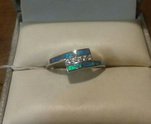 Photo .925 Solid Sterling Silver CZ Diamonds Fire Opal Ring.