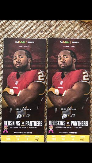 Redskins vs Carolina tickets 100 level! for Sale in Silver Spring, MD