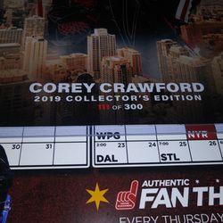 Chicago Blackhawks Corey Crawford Autographed Signed Skyline Photo 300 made Thumbnail