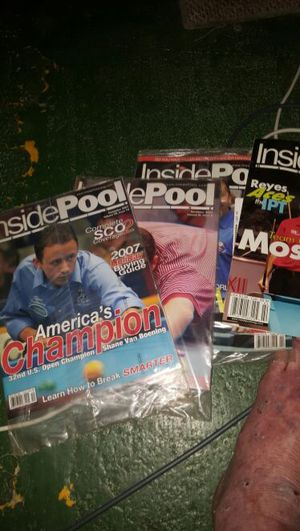 Pool magazines..and old catalogs of pool cues and tables ect spanning 20 years or more for Sale in Cleveland, OH