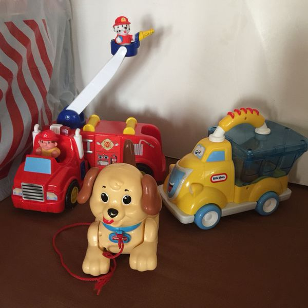 Fire Truck Pull Dog Rattle Popper Toy
