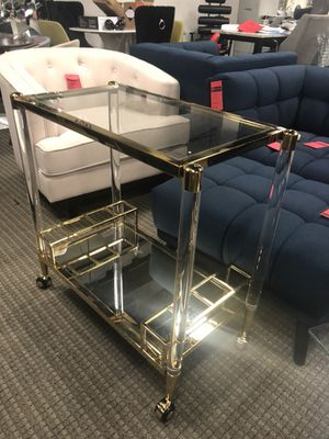 Existential acrylic and gold bar cart for Sale in Alexandria, VA