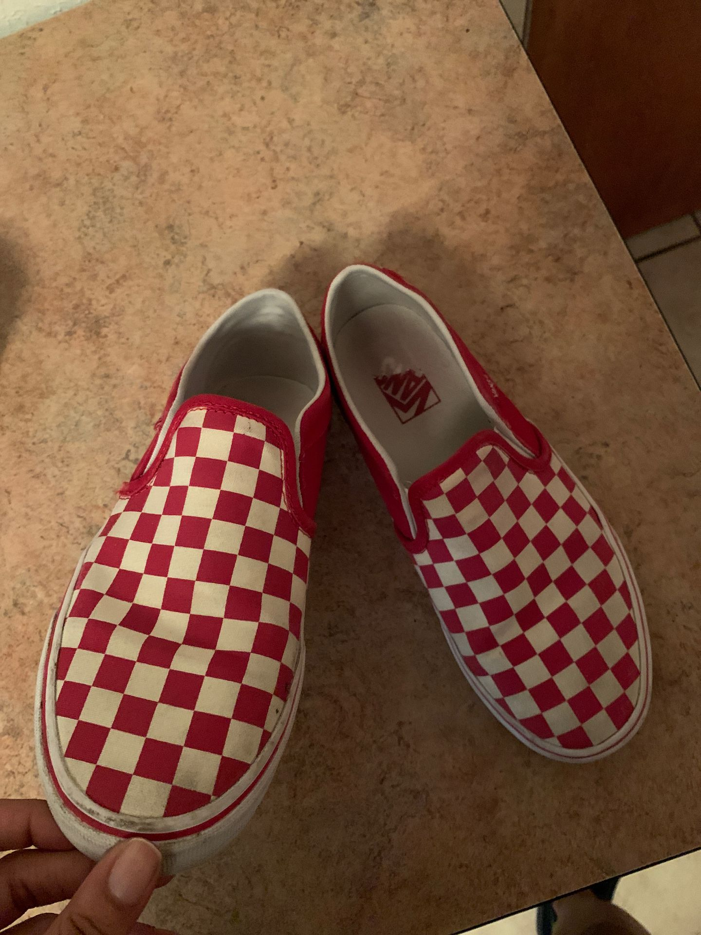 Red and white vans slip one size 8